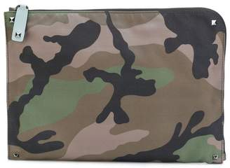 Valentino Rockstud camouflage laptop pouch