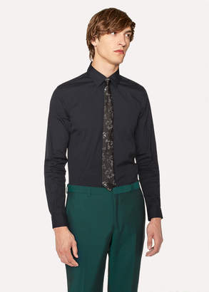 Paul Smith Men's Super Slim-Fit Dark Navy Shirt With 'Artist Stripe' Cuffs