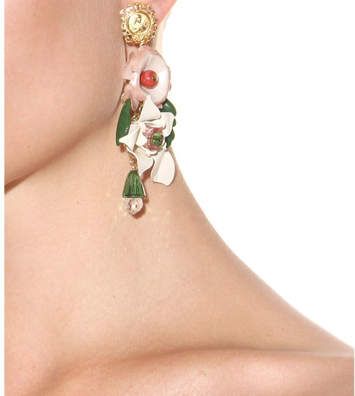 Dolce & Gabbana Clip-on crystal-embellished earrings