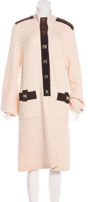 Tory Burch Wool Leather-Trimmed Coat