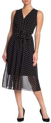 Anne Klein Polka Dot Pleated Midi Dress