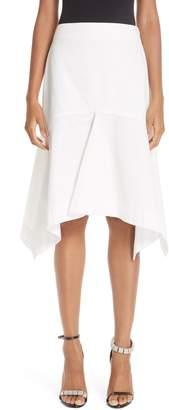 Calvin Klein Sharkbite Hem Cotton Gabardine Skirt