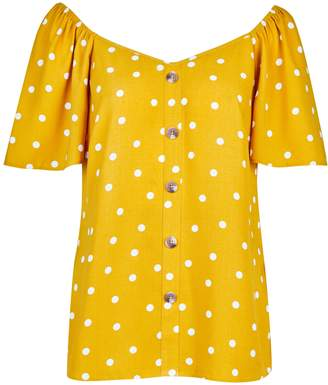 Dorothy Perkins Womens Yellow Spot Print Button Blouse