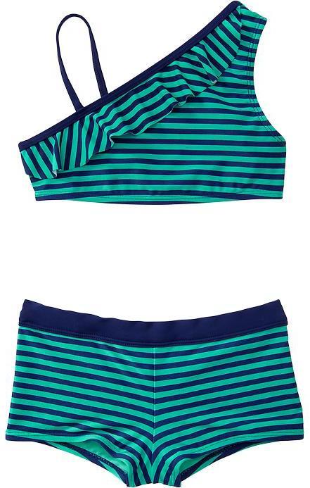 Old Navy Girls Striped One-Shoulder Boy-Short Bikinis