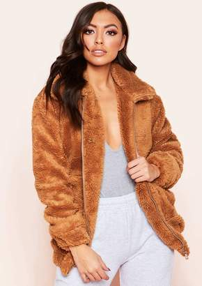 Missy Empire Missyempire Rene Camel Teddy Zip Up Jacket