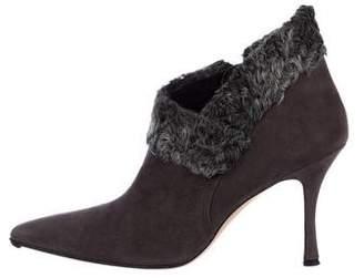 Manolo Blahnik Suede Fur-Trimmed Boots