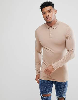 Asos Design DESIGN longline muscle fit long sleeve jersey polo