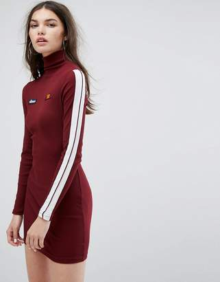 Ellesse Long Sleeve Bodycon Dress With High Neck In Rib