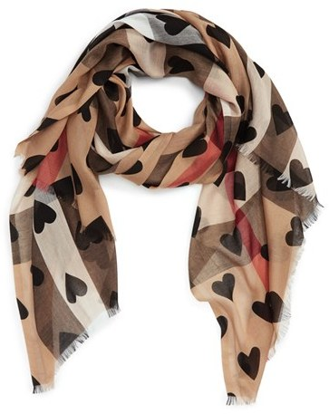 Women's Burberry Check & Heart Pattern Scarf