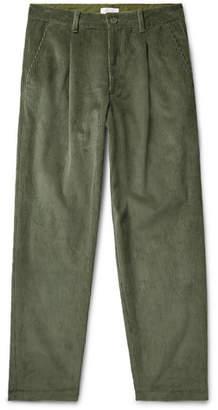 John Elliott Tuck Wide-Leg Pleated Cotton-Corduroy Trousers