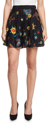 Alice + Olivia Blaise Floral-Embroidered Lace Mini Skirt $440 thestylecure.com
