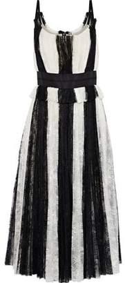Carolina Herrera Satin-Trimmed Striped Plissé-Lace Midi Dress
