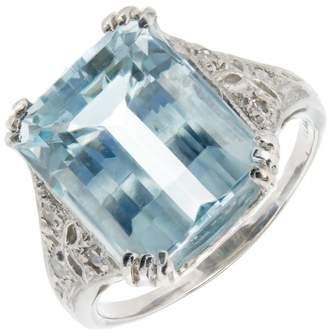 Platinum with Aqua and Diamond Art Deco Ring Size 5.25
