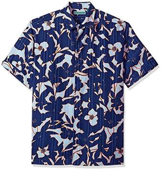 Cubavera Men's Short Sleeve Polyester Abstract Tropical Print Button-Down Shirt