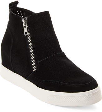 Steve Madden Black Lero Suede Wedge Sneakers