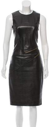 Michael Kors Zipper-Accented Leather Dress