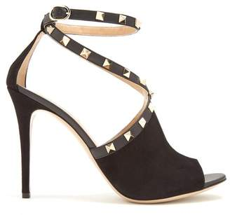 Valentino Rockstud Cross Strap Suede Pumps - Womens - Black