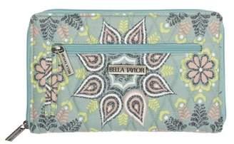 Ashton & Willow Dusty Turquoise Green Bohemian Handbags Luna Signature Zip Wallet Cotton Pewter Hardware Floral / Flower Wallet
