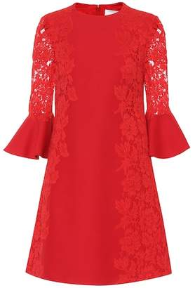 Valentino Lace-trimmed cotton-blend minidress