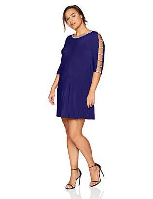 MSK Women's Plus Size Cocktail Dress with Rhinestone Neck and Sleeve Trim