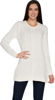 Susan Graver Cotton Acrylic Cable Knit Sweater Tunic