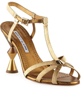 Manolo Blahnik Rubidia Sculptural Metallic Sandals