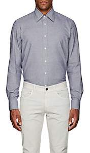Luciano Barbera Men's Neat Cotton Flannel Shirt - White Pat.