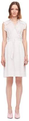 Rebecca Taylor Ikat Dot Print Silk Wrap Dress