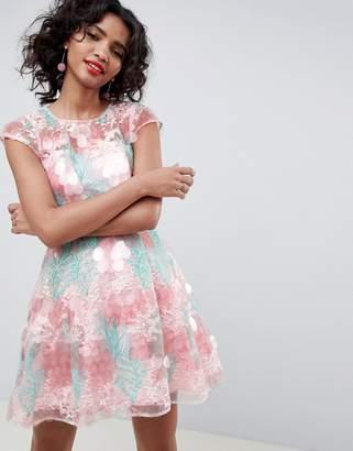 Asos Edition EDITION sequin flower skater mini dress