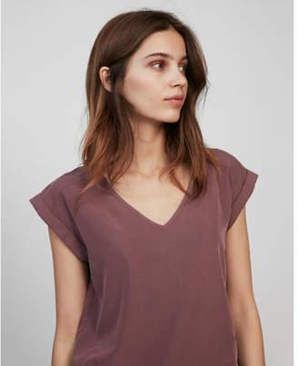 Express rolled sleeve v-neck blouse