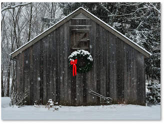"Trademark Global Kurt Shaffer 'Christmas Barn in the Snow' 18"" x 24"" Canvas Art Print"