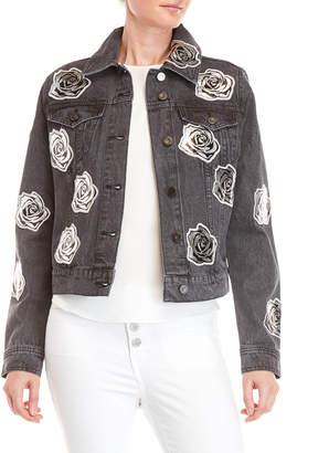 Bagatelle Metallic Floral Patch Denim Jacket