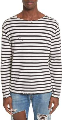 R 13 Distressed Stripe Long Sleeve T-Shirt