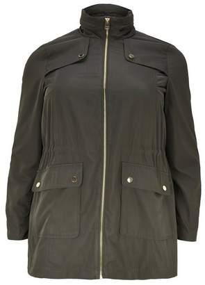 Evans Khaki Zip Trim Coat