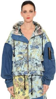 Brocade & Denim Patchwork Bomber Jacket