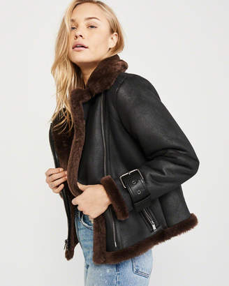 Abercrombie & Fitch Faux Leather Shearling Moto Jacket