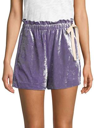 Mo&Co. Ruffle Velvet Shorts