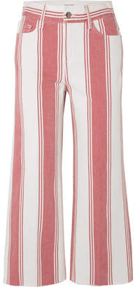 Frame Vintage Crop Striped High-rise Wide-leg Jeans - Red