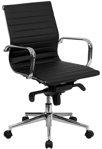Offex Mid-back Black Ribbed Upholstered Leather Conference Chair