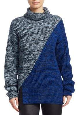 Derek Lam 10 Crosby Bi-Color Merino Wool Turtleneck Sweater