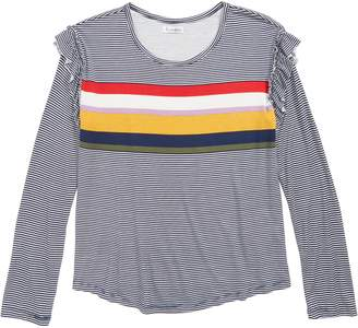 Love, Fire Stripe Ruffle Shoulder Tee