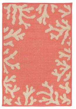 Liora Manné Terrace Coral Border Indoor and Outdoor Rug