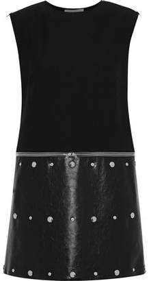 Sonia Rykiel Zip-detailed Twill And Faux Cracked-leather Mini Dress