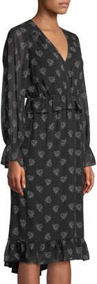 Kensie Whispering Shadows Fern-Print Chiffon Dress