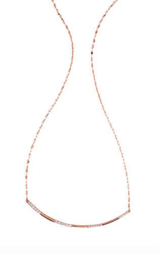 Lana Expose Flawless Diamond Bar Necklace in 14K Rose Gold