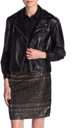 Catherine Malandrino Balloon Sleeve Faux Leather Jacket
