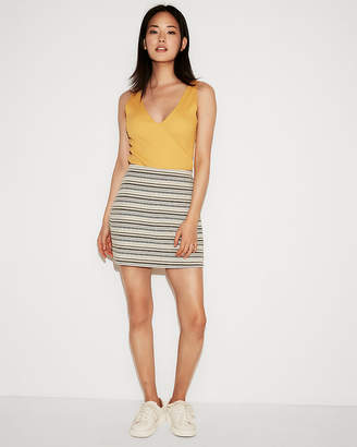 Express High Waisted Jacquard Stripe Mini Skirt