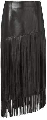 Intermix Mayaan Leather Fringe Skirt
