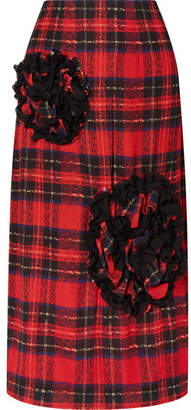 Simone Rocha Appliquéd Tartan Georgette Midi Skirt - Red