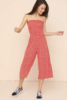 Garage Wide Leg Bandeau Jumpsuit With Smocking
